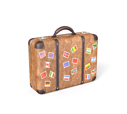 Travel Suitcase with flag stickers , Isolated on white , 3d render