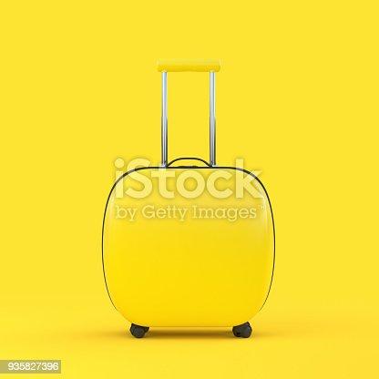 istock Travel suitcase yellow color isolated on yellow background 935827396