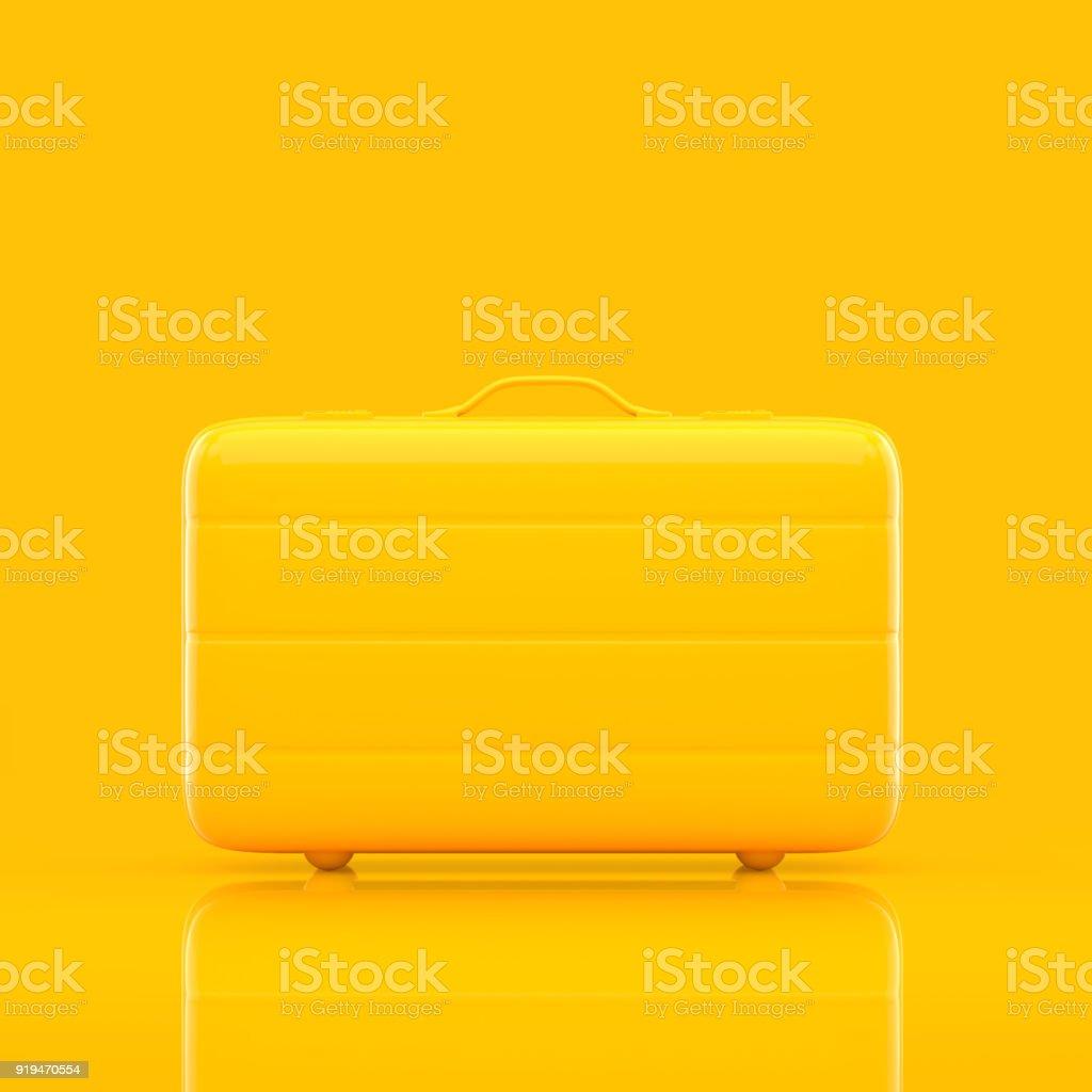 Reise Koffer gelbe Farbe isoliert Lizenzfreies stock-foto