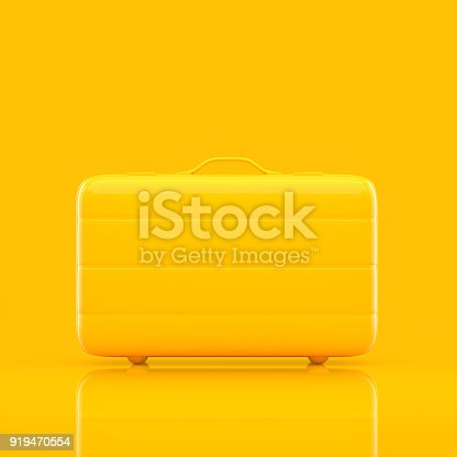 istock Travel suitcase yellow color isolated 919470554