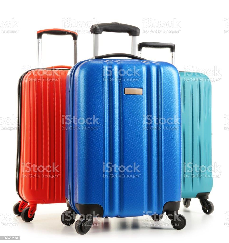Travel suitcases isolated on white background stock photo