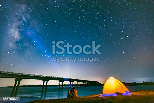istock Travel tents under the night sky 636769692
