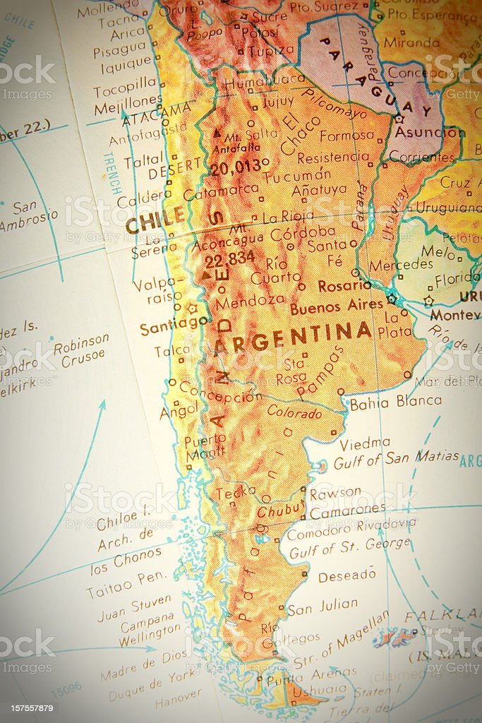 Travel the Globe Series - Chile, Argentina, and Paraguay stock photo