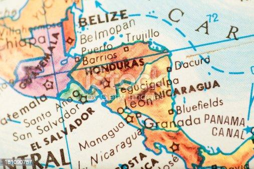 Studying Geography - Honduras on retro globe.