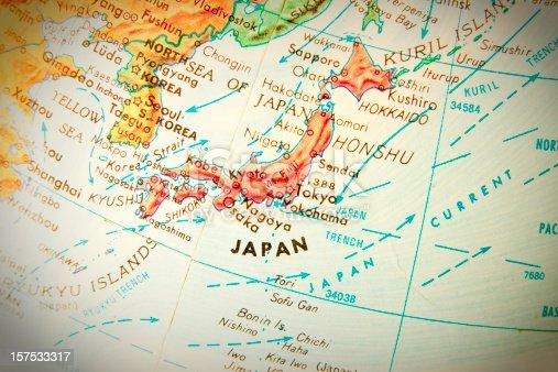 Studying geography - Photo of Japan on retro globe.