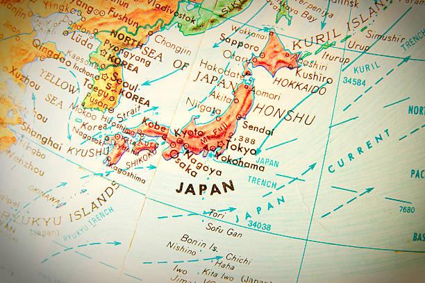 旅行の世界中のシリーズ-日本 - 日本 地図 ストックフォトと画像