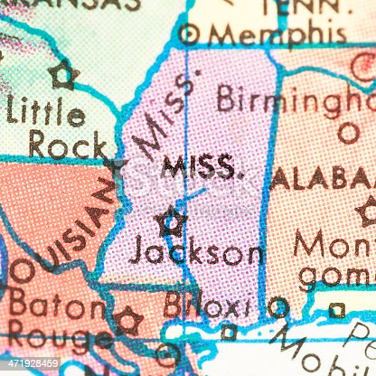 Studying Geography - Photograph of Mississippi on retro globe.