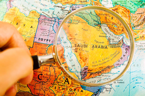 travel the globe series - saudi arabia - saudi arabia map stock photos and pictures