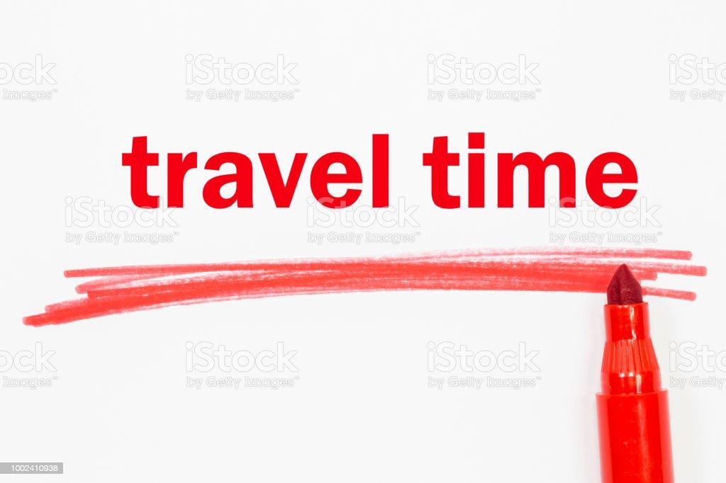 tempo de viagem do word escrito com marcador - foto de acervo
