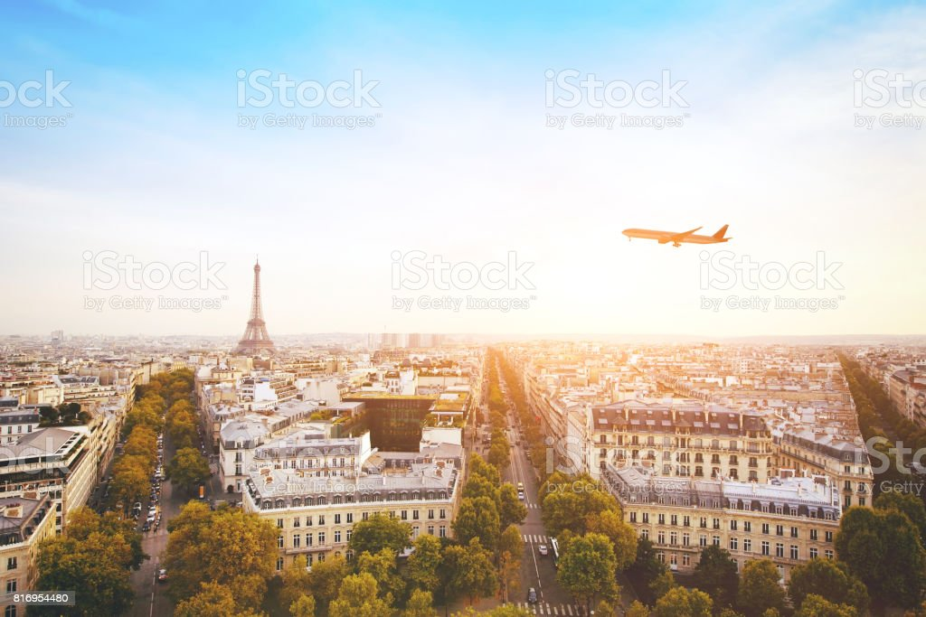 travel to France by flight stock photo