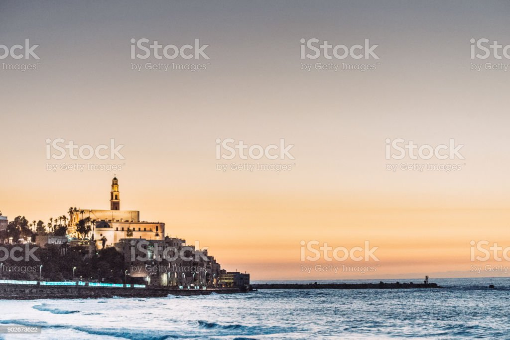 Travel to Israel and discover the beauty - Jaffo hill in Tel Aviv with lighthouse stock photo