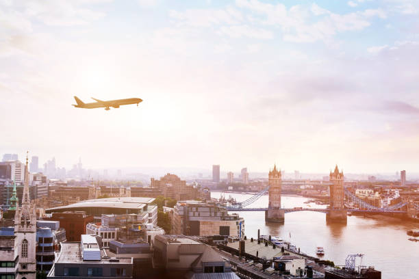 travel to London by flight stock photo