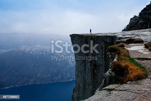 istock travel to Norway, person looking on the fjords 497256652