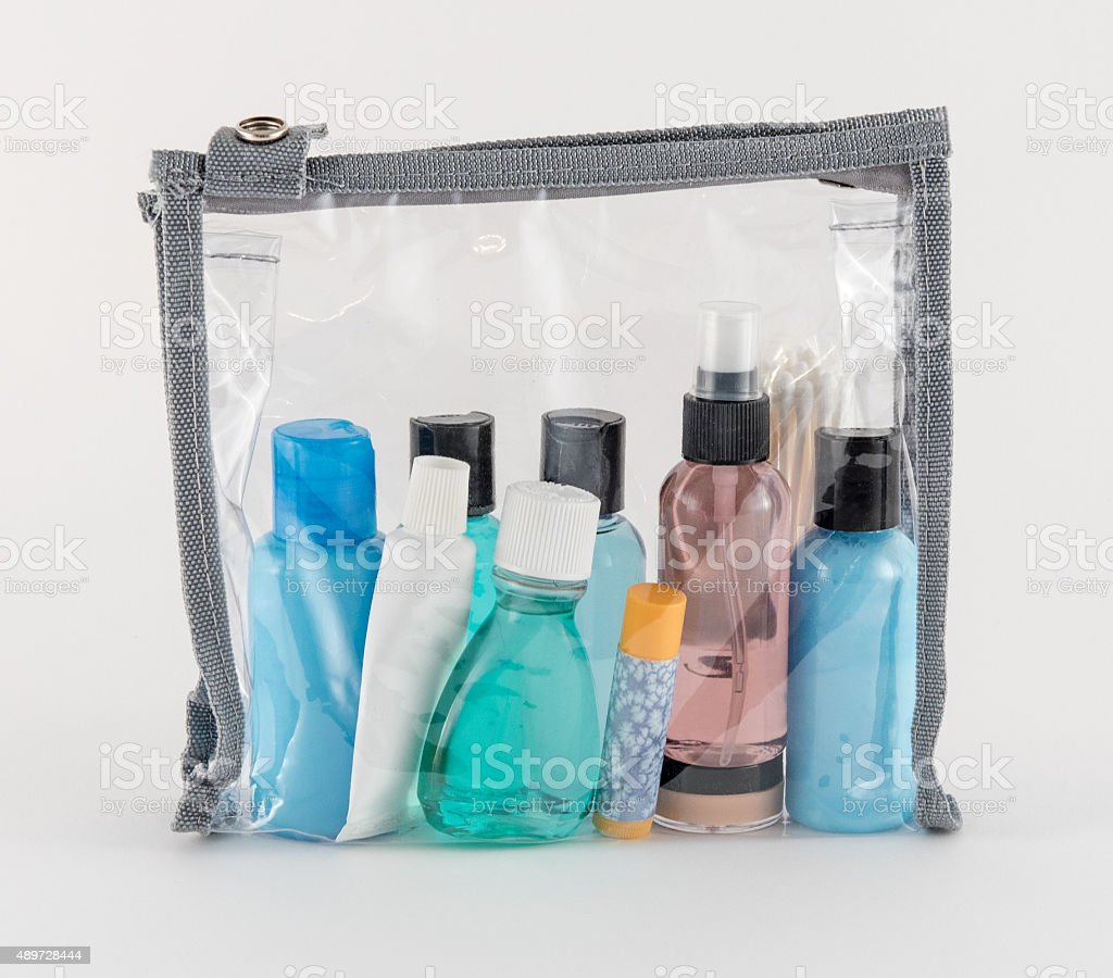 Travel Toiletries in Clear Plastic Bag stock photo