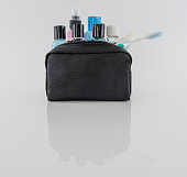 istock Travel Toiletry Bag and Travel Toiletries 537625620