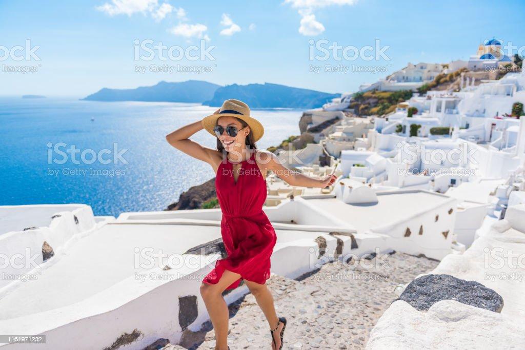 Travel Tourist Happy Woman Running Stairs Santorini, Greek Islands,...
