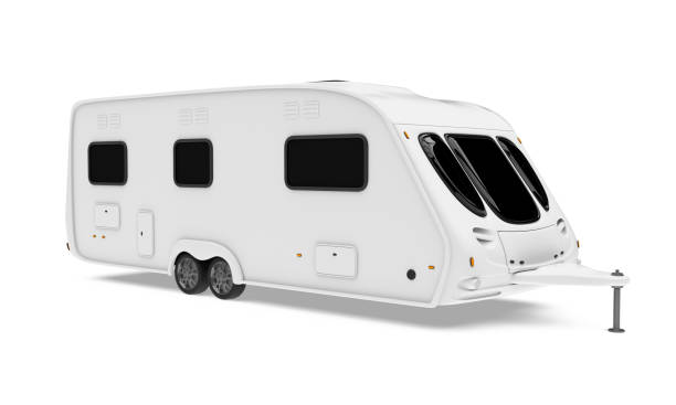 Travel Trailer Isolated Travel Trailer isolated on white background. 3D render manufactured housing stock pictures, royalty-free photos & images