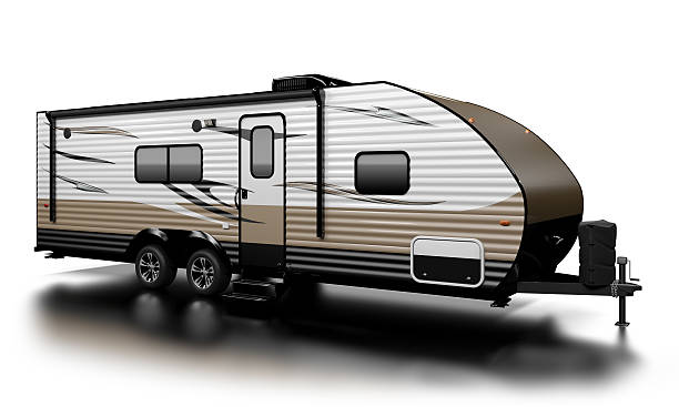 Travel Trailer Travel Trailer RV on white, extremely high resolution and detailed, with custom graphics. vehicle trailer stock pictures, royalty-free photos & images