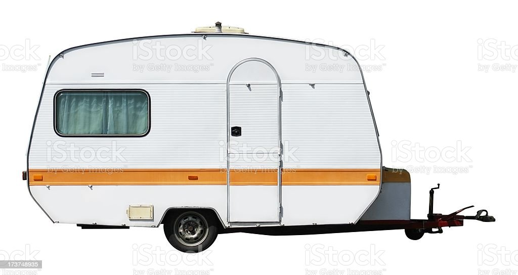 Travel trailer with hitch on a black and white background royalty-free stock photo