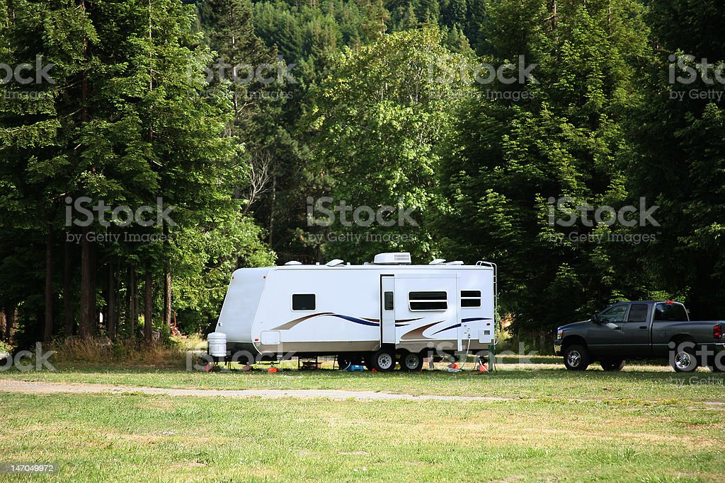 Travel Trailer with Slide Out stock photo