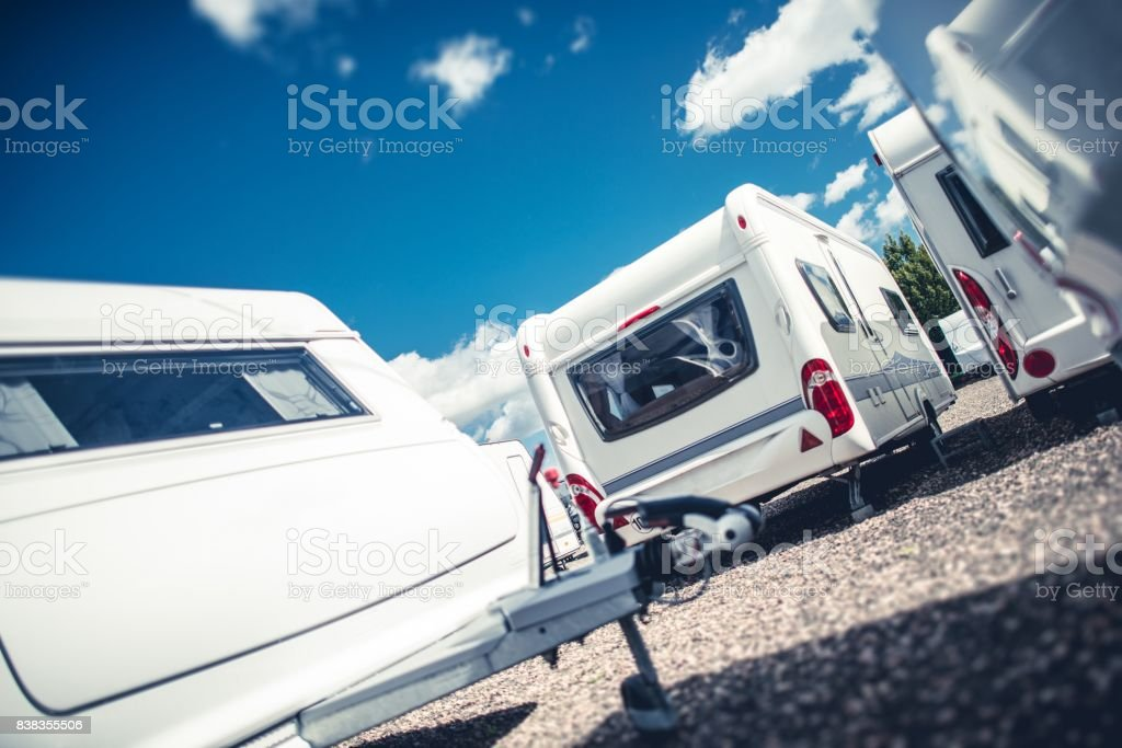 Travel Trailers Sales stock photo