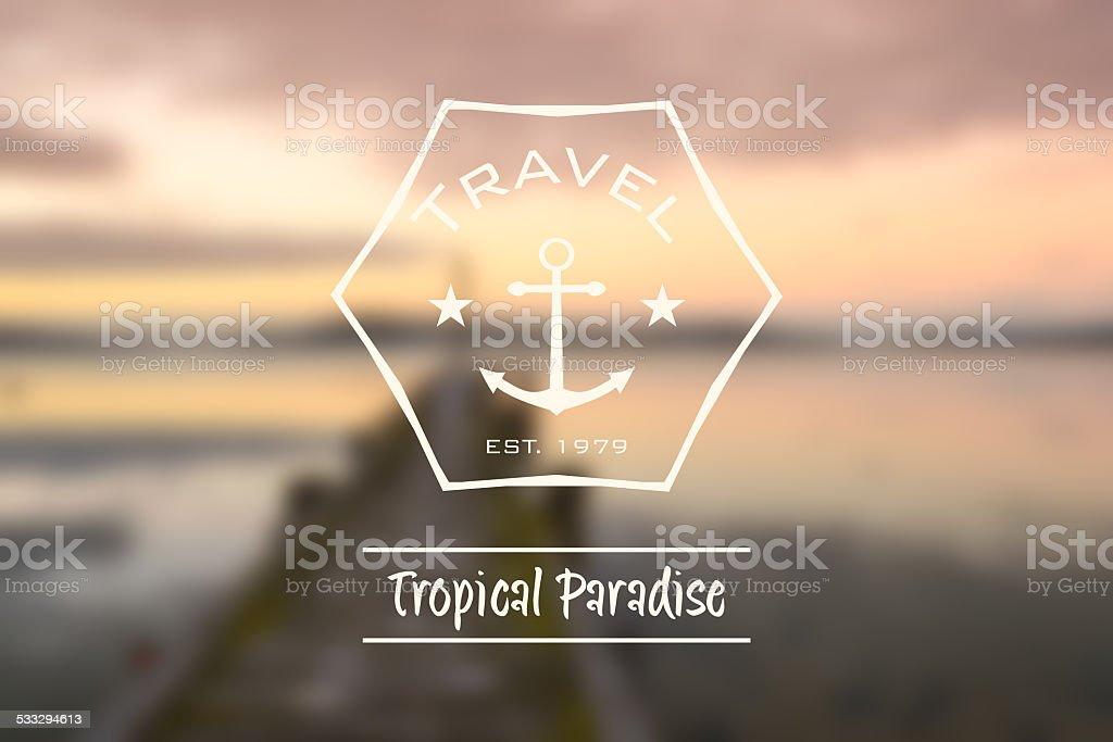 travel tropical paradise hipster retro logo royalty-free stock photo