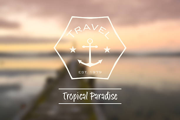 travel tropical paradise hipster retro logo stock photo