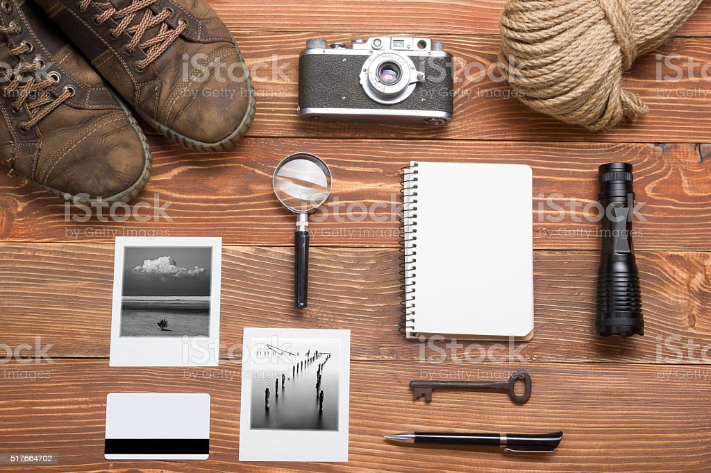 Travel, vacation concept. Camera, notepad, pen, credit card, supplies and stock photo