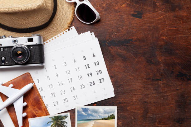 travel vacation concept - holiday calendars stock pictures, royalty-free photos & images