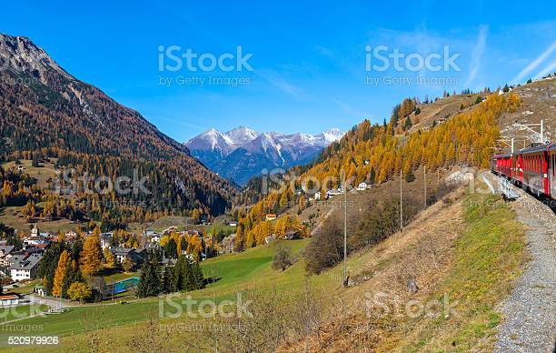 Travel With Train In Golden Autumn Stock Photo - Download Image Now