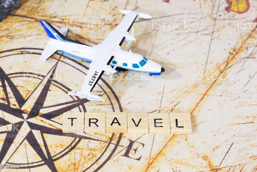 Travel written with words stock photo