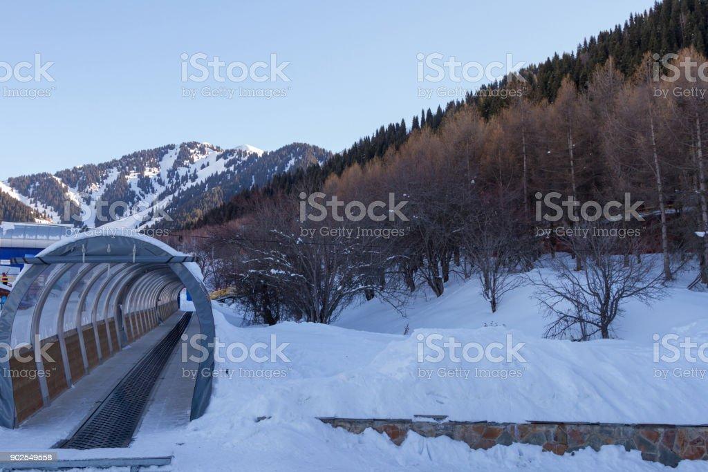 travelator at the ski resort stock photo