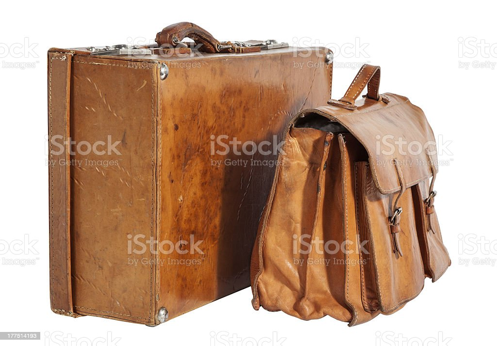 Traveled Vintage Suitcase and Briefcase royalty-free stock photo