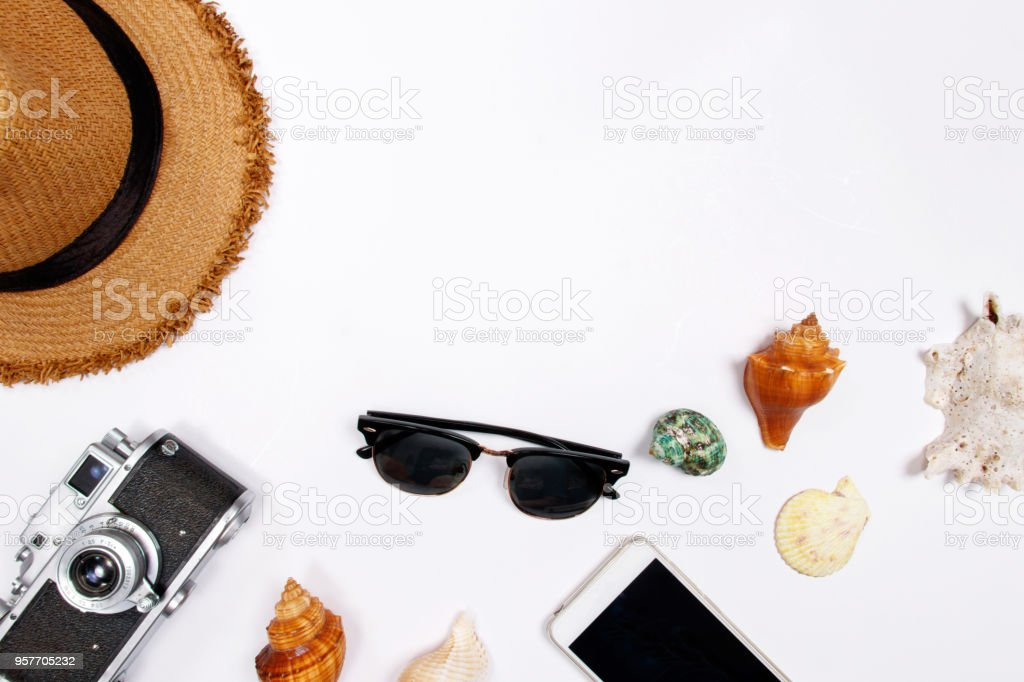 Traveler accessories on white background. stock photo