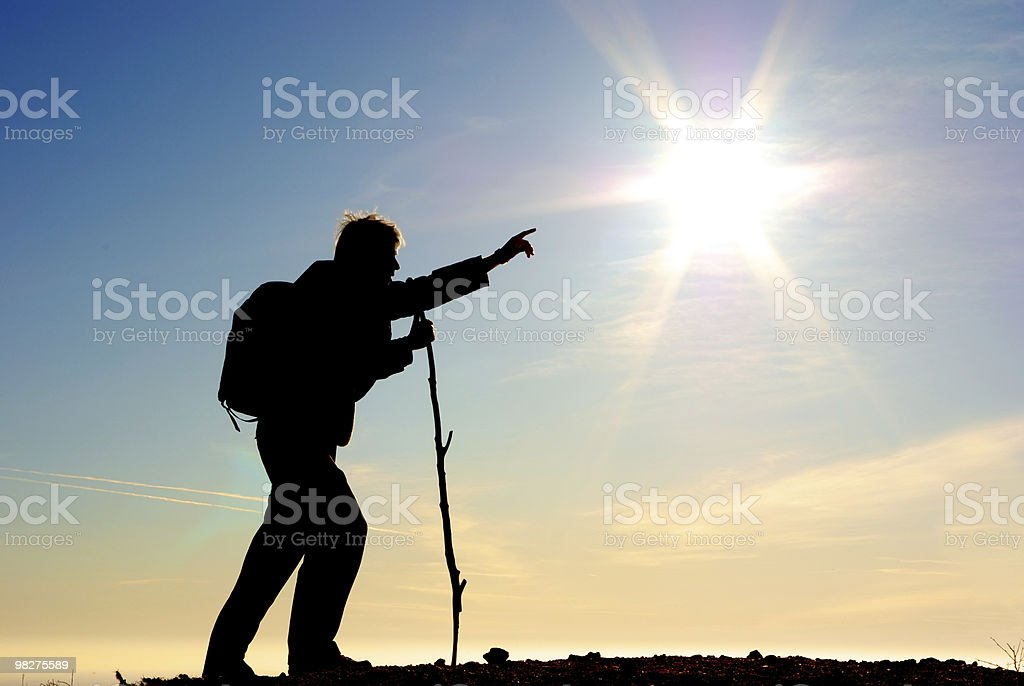 Traveler and big sun royalty-free stock photo