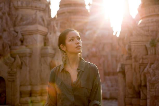 Traveler at Buddhist Site stock photo