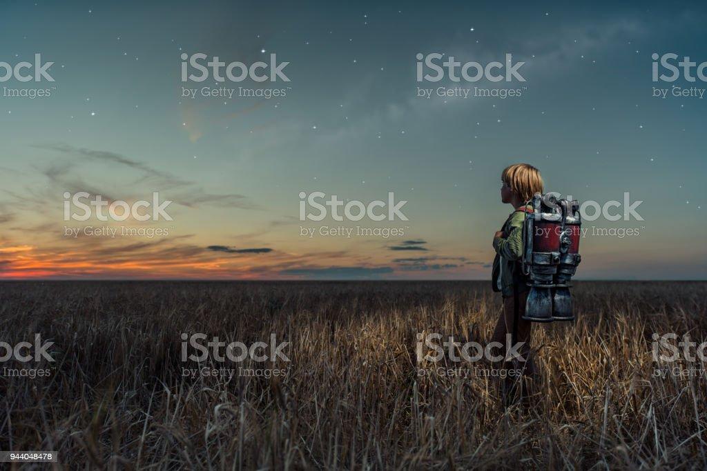 Traveler at night stock photo