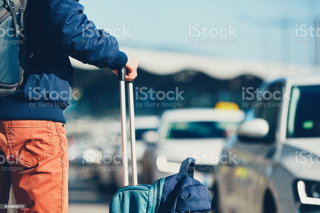 Traveler at the airport stock photo