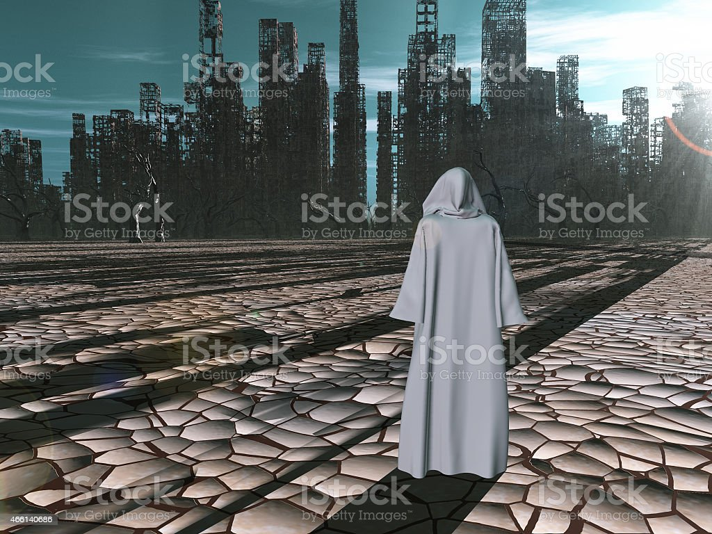 Traveler before the destroyed city stock photo