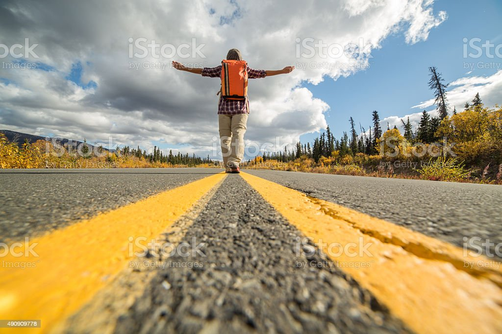 Traveler escaping the crowd stock photo