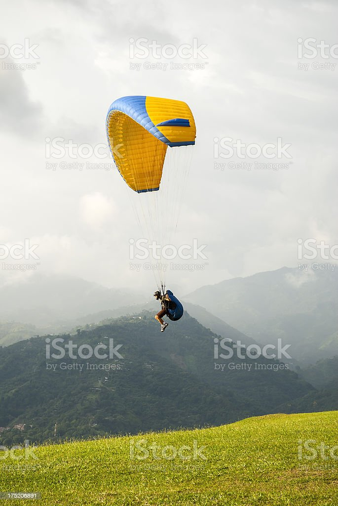 Paraglider in sky in Bucaramanga, Colombia stock photo
