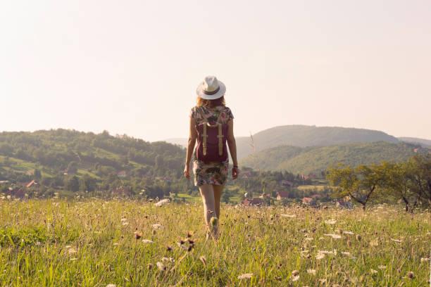 Traveler girl walking through fields. stock photo