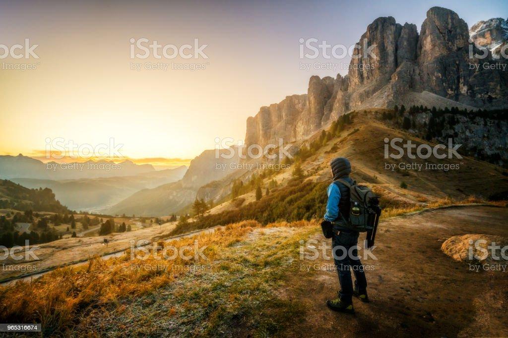Traveler hiking breathtaking landscape of Dolomite royalty-free stock photo