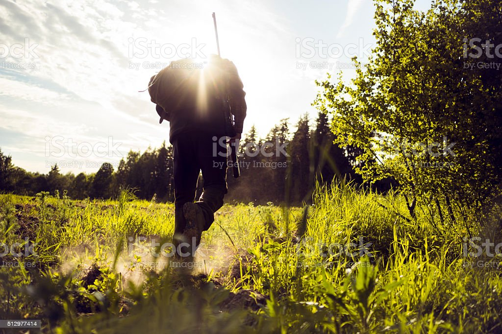 Traveler Hiking Walking Over A Grassland stock photo