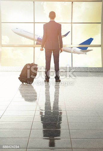 509630674 istock photo traveler in airport on sunset 535424234