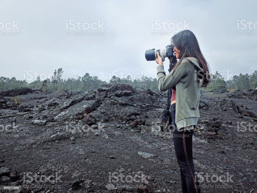 Traveler in Hawaii Volcanoes National Park, Big Island, Hawaii stock photo