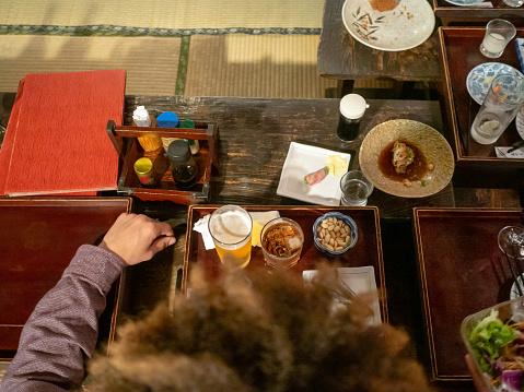Traveler in Japan, drinking at Izakaya