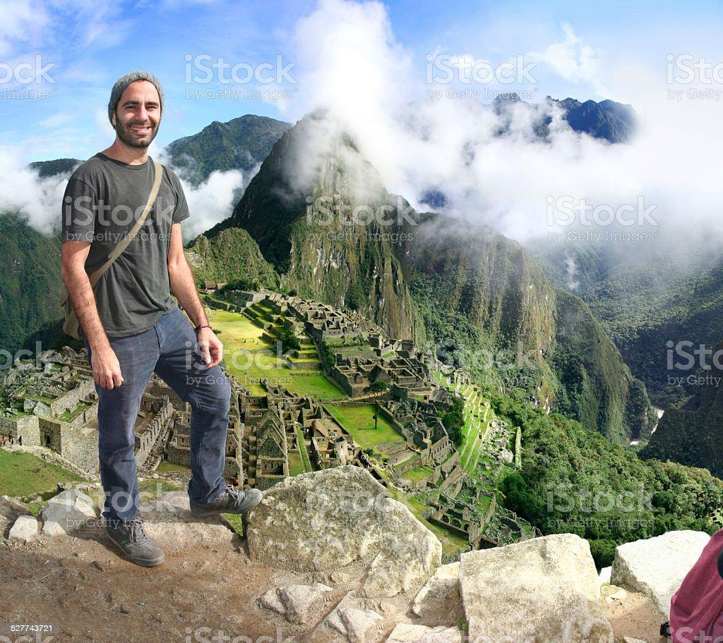 Traveler in Machu Picchu, Peru stock photo
