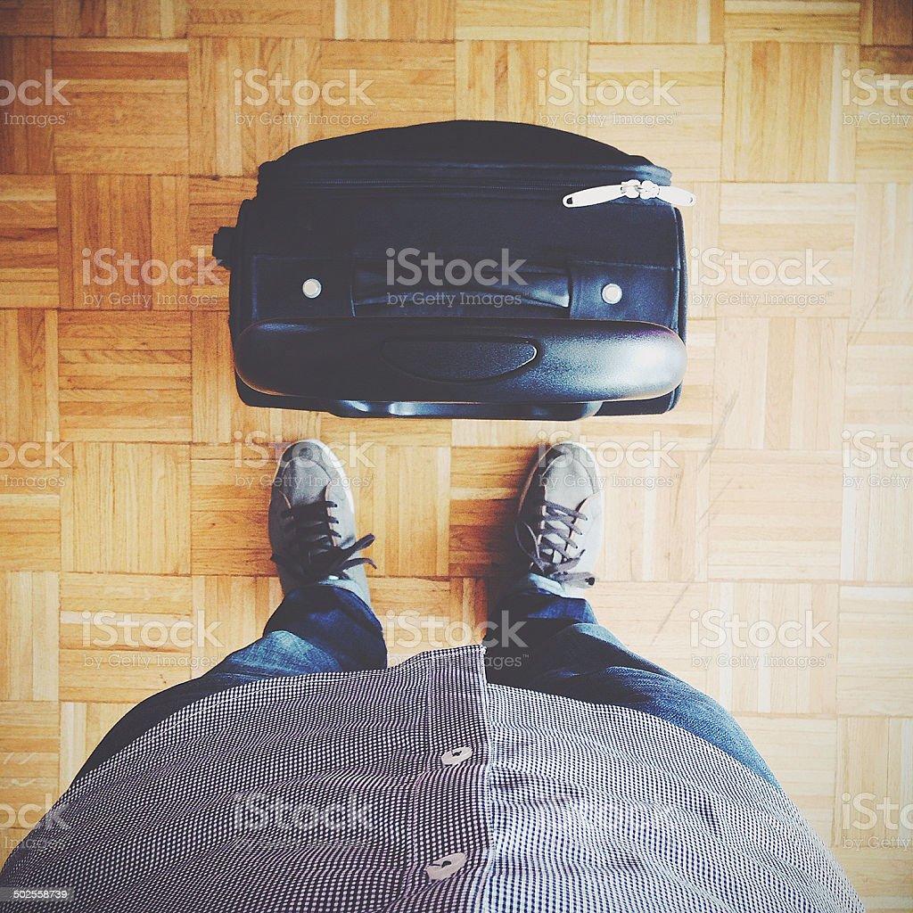 traveler in queue at airport stock photo