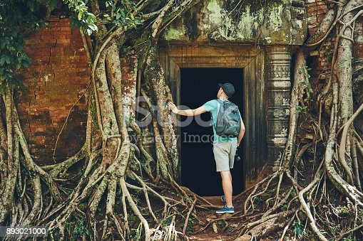 istock Traveler in the ancient temple 893021000